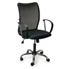 Кресло РК-308 с подлокотниками, хром, ткань черная