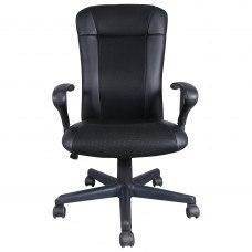 Кресло РК-370  c подлокотниками, экокожа/ткань, черное