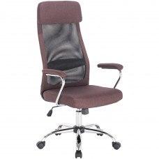 Кресло Кресло РК-540 хром, ткань, сетка, коричневое