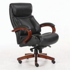 Кресло РК-707 дерево, натуральная кожа, черное
