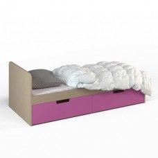 Кровать детская с двумя ящиками 1912х854x722 мм (ДхГхВ) (Ясень Шимо/Фуксия)