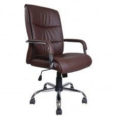 Кресло РК-508 экокожа, хром, коричневое