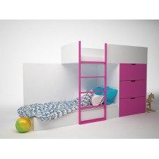 Кровать детская двухэтажная с комодом 2780x844х1600 мм (ДхГхВ) (Цвет на выбор)
